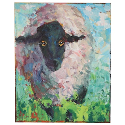 Elle Raines Acrylic Painting of Sheep