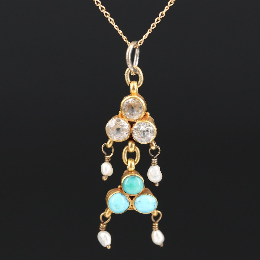 18K Sapphire, Turquoise and Seed Pearl Pendant Necklace