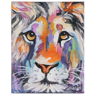 Marc Broadway Acrylic Portrait of Colorful Lion