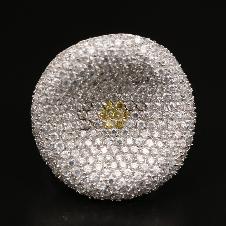 Sterling Sterling Pavé Cubic Zirconia Concave Ring