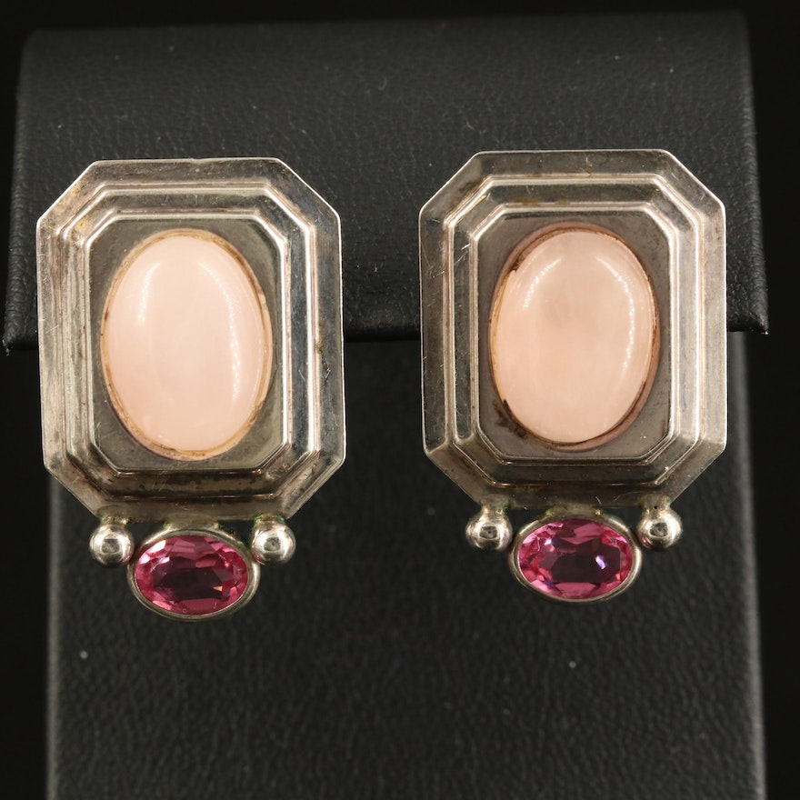 Sterling Rose Quartz and Glass Button Earrings
