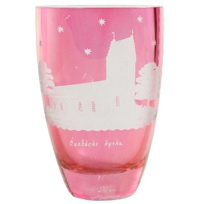 Oxabacki Kyrka Motif Pink to White Bohemian Glass Vase