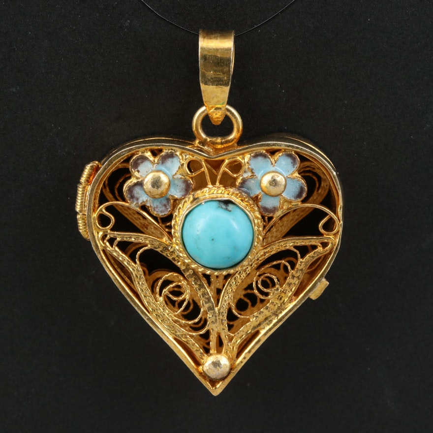 Vintage Sterling Silver Turquoise and Enamel Filigree Heart Pendant