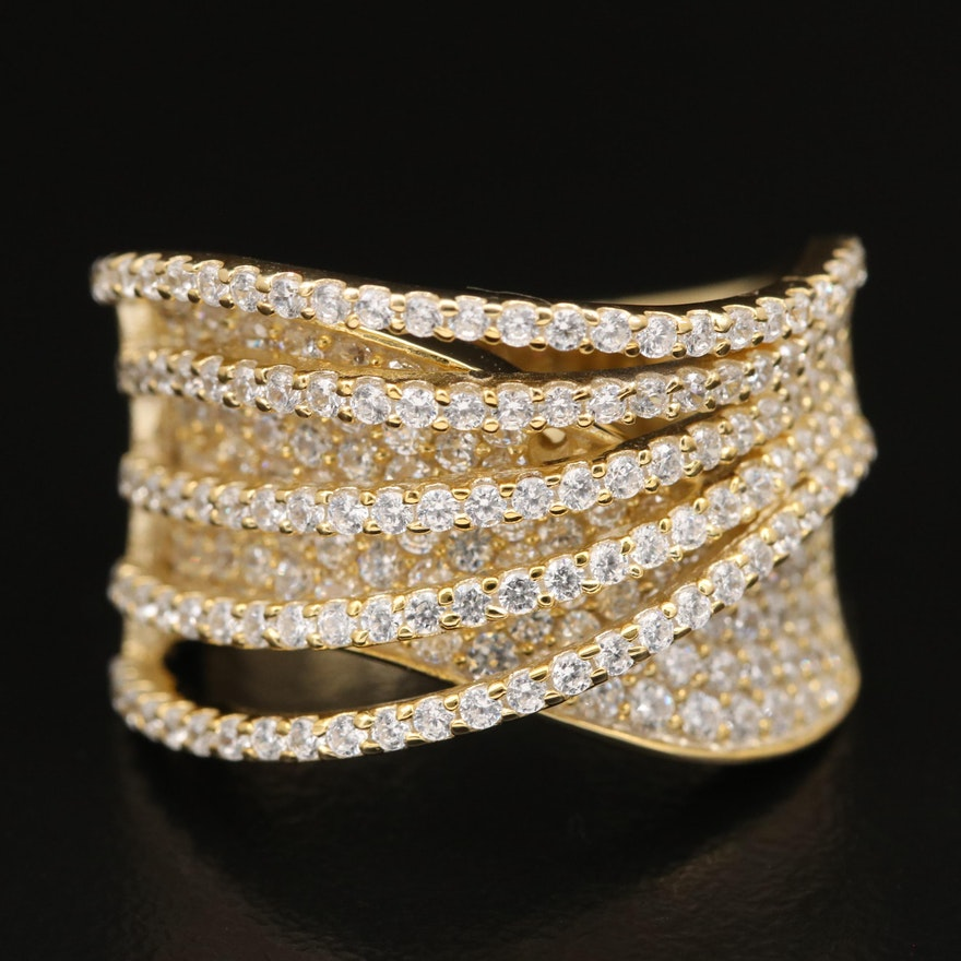 Sterling Cubic Zirconia Wave Crossover Ring