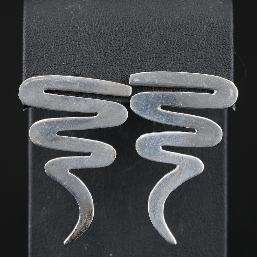 Mexican Sterling Silver Swirl Earrings