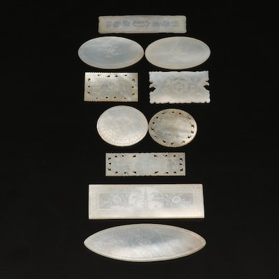 Chinese Hand Carved Mother-of-Pearl Gambling Counters