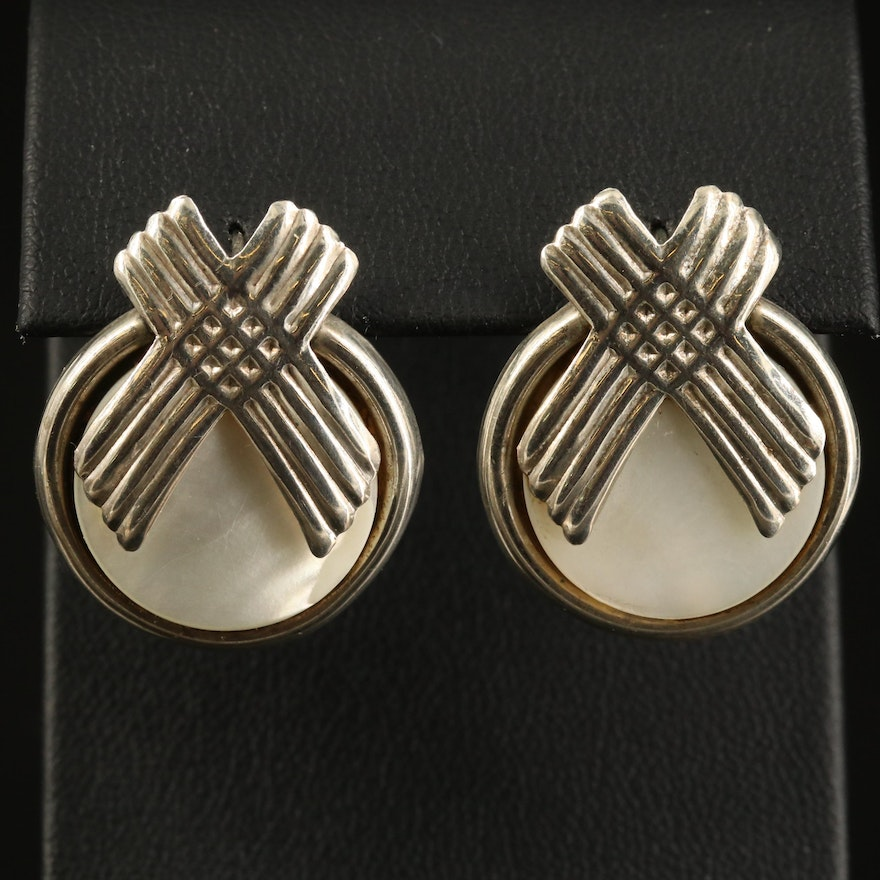Vintage Sterling Mother of Pearl Button Earrings