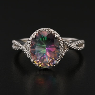 Sterling Silver Mystic Topaz and Diamond Ring