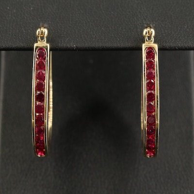 Sterling Ruby Inside-Out Oval Hoop Earrings