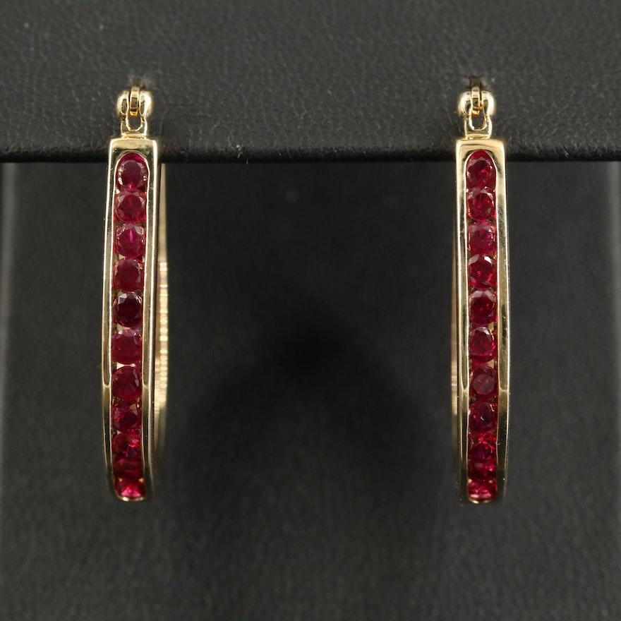 Sterling Ruby Inside-Out Oval Hoop Earrings