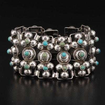 Vintage Sterling Silver Turquoise Wide Link Bracelet
