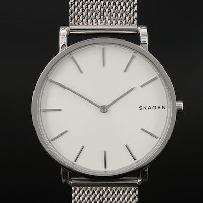 "Skagen ""Hagen"" Slim Stainless Steel Quartz Wristwatch"