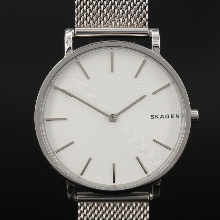 """Skagen """"Hagen"""" Slim Stainless Steel Quartz Wristwatch"""