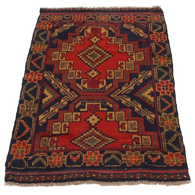 2'8 x 4'4 Hand-Knotted Afghan Baluch Accent Rug, 2000s