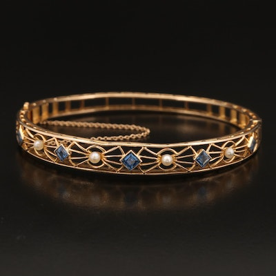 14K Sapphire and Pearl Bracelet