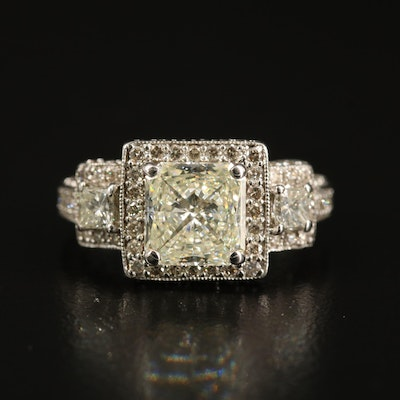 14K 2.41 CTW Diamond Halo Ring