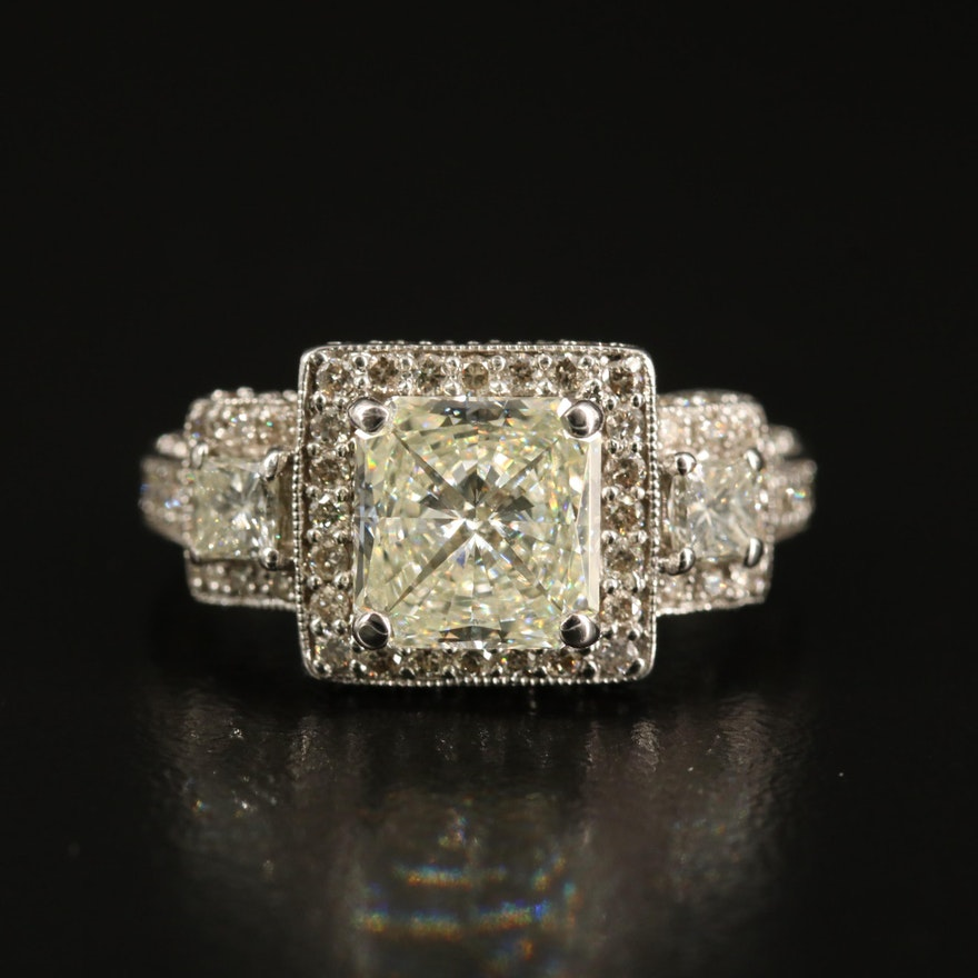 14K 2.41 CTW Diamond Halo Ring