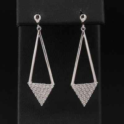 Sterling Silver Cubic Zirconia Triangular Earrings
