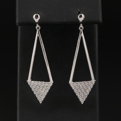Sterling Silver Cubic Zirconia Triangular Earrings