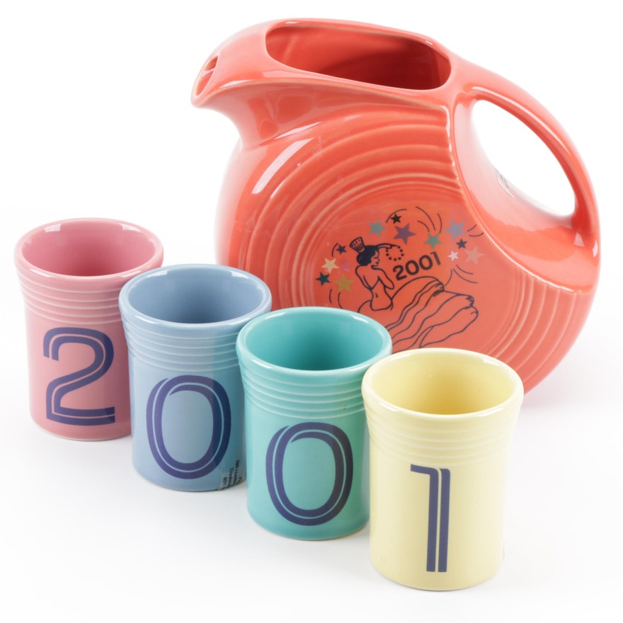 """Fiestaware Pitcher and 4 Tumblers """"2001"""""""