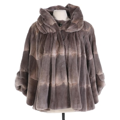 Angelo Danzi Sheared Rabbit Fur Swing Cape Coat with Attached Stole