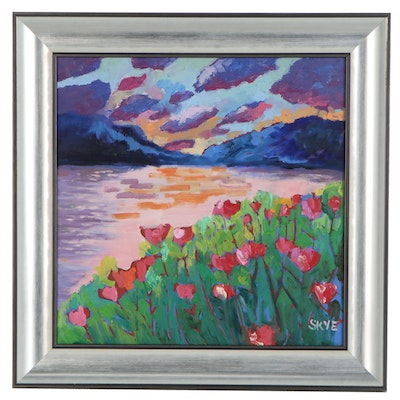 Post-Impressionist Style Sunset Landscape Oil Painting