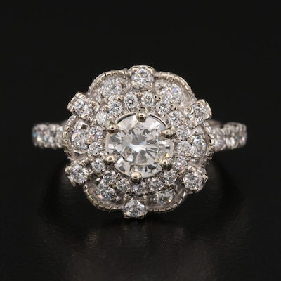 10K 1.88 CTW Diamond Setting with Platinum Ring Shank