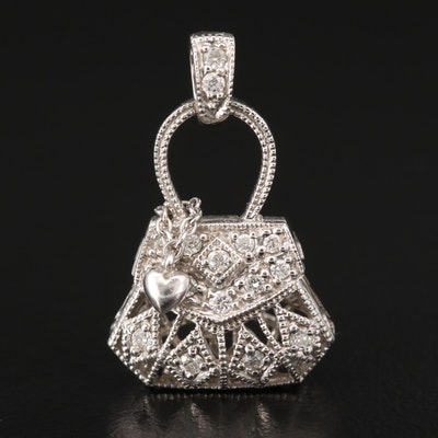 14K Diamond Purse Pendant