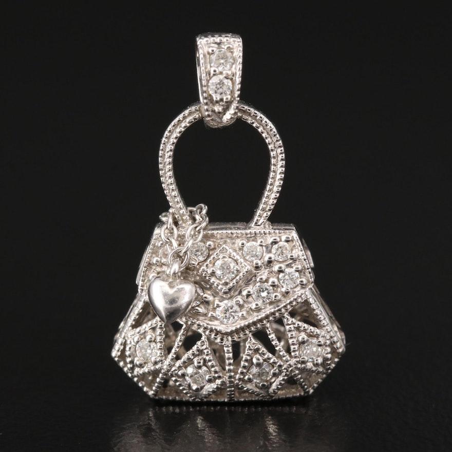 14K Diamond Purse Pendant