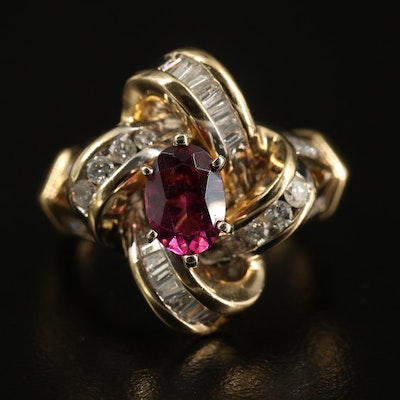 14K Garnet and Diamond Knot Ring
