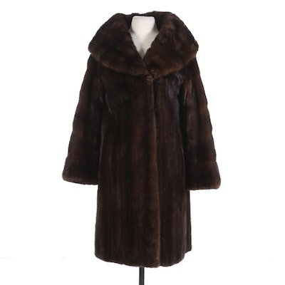 Classic Mahogany Mink Fur Full Length Coat with Shawl Collar