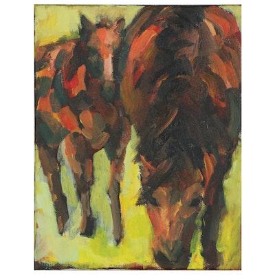 Elle Raines Impressionist Style Acrylic Painting of Horses, 21st Century