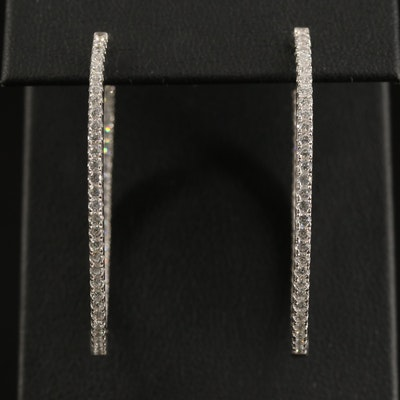 Sterling Cubic Zirconia Oval Inside-Out Hoop Earrings