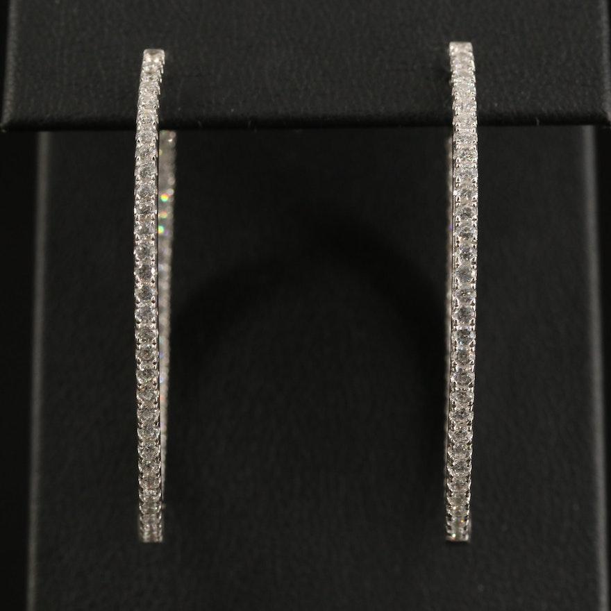 Sterling Cubic Zirconia Oval Inside-Out Hoop Earrings