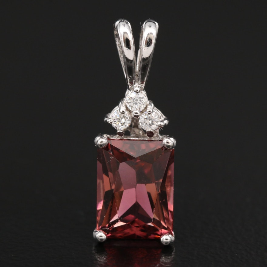 14K Tourmaline and Diamond Rectangular Pendant