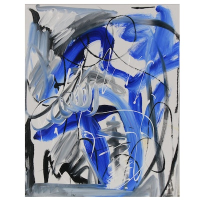 """Susan Crew Abstract Acrylic Painting """"Whale Song I"""""""