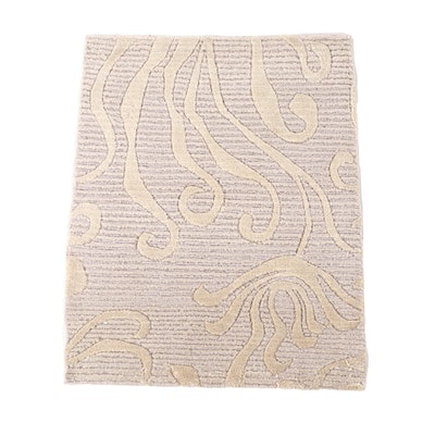 1'7 x 2'0 Hand-Knotted Nepalese Carved Wool Floor Mat
