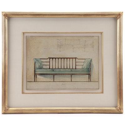 Furniture Design Mixed Media Illustration, Late 19th Century