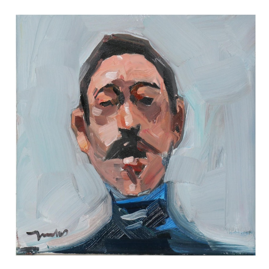 "Jose Trujillo Oil Painting ""Casual Man,"" 2020"