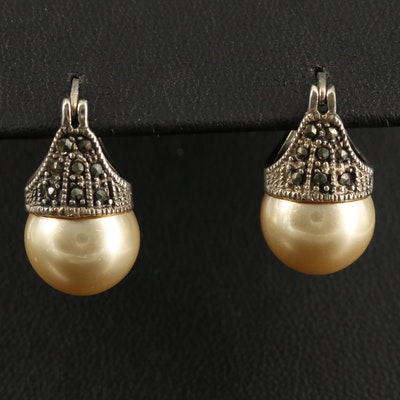 Sterling Faux Pearl and Marcasite Drop Earrings