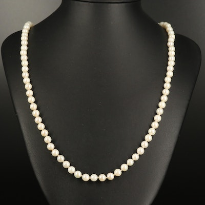 Hand Knotted Pearl Strand Necklace with 10K Clasp