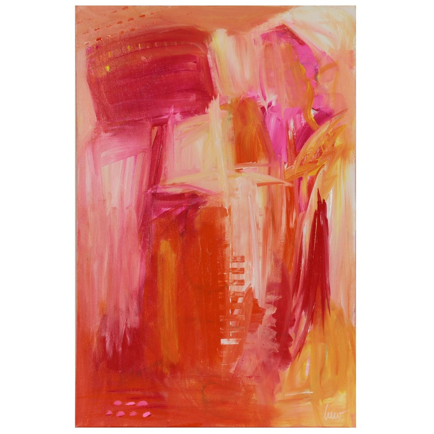 """Susan Crew Abstract Acrylic Painting """"Dancing in the Pink I"""""""