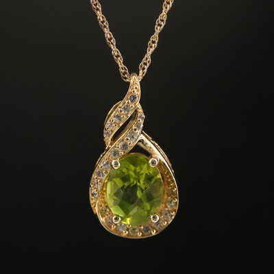 Sterling Peridot and Sapphire Necklace