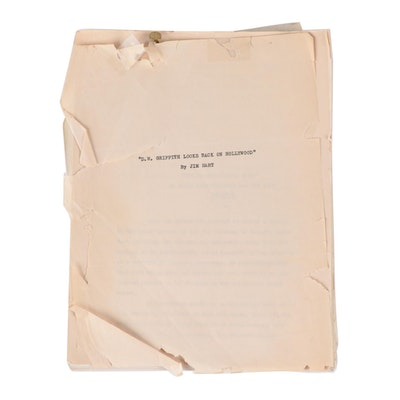 """""""D. W. Griffith Looks Back on Hollywood"""" Manuscript Edited by Jim Hart"""