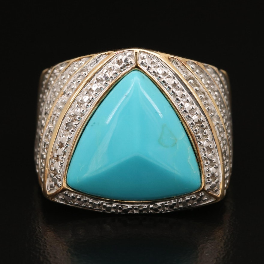 Sterling Turquoise and Diamond Geometric Ring