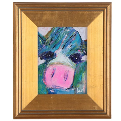 "Susan Crew Mixed Media Painting ""Blue Girl"""