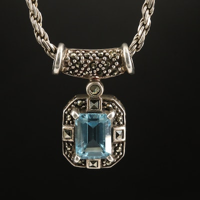 Sterling Topaz and Marcasite Pendant Necklace