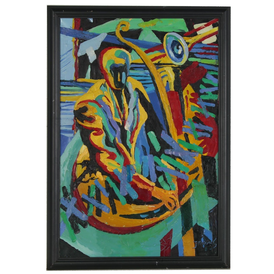 Abstract Impasto Oil Painting of Jazz Composition