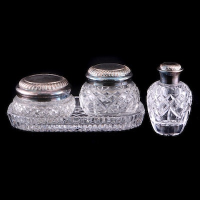 "Waterford Crystal ""Iveagh"" Vanity Jars and Perfume Bottle With ""Alana"" Tray"