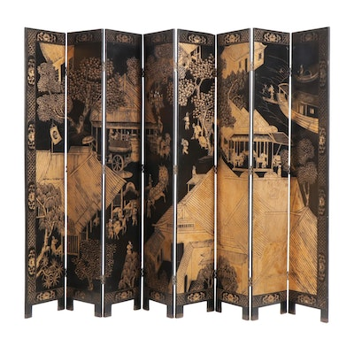 Chinese Black Lacquer and Parcel-Gilt Eight Panel Room Screen, Late 20th C.